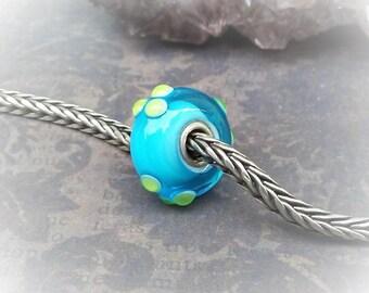 Dots Glass Trollbead-Blue Green Glass Charm-Vintage Trollbead-Vintage Lampwork Bead-Murano Glass-Large Hole Bead-Blue With Green Bead