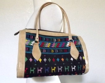 Vintage Embroidered Satchel Purse, Colorful Woven Textile & Leather Handbag