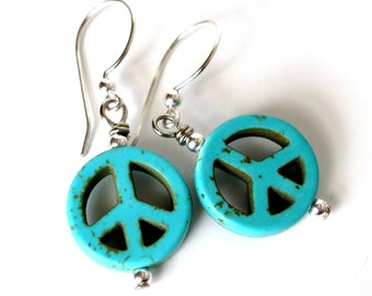 Peace Sign Earrings - Free Domestic Shipping