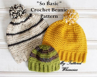"""Crochet Pattern """"So Basic"""" Beanie, Fitted or Slouchy Hat, Baby, Kids, Teen, Women, Men, Adult sizes"""