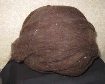 Wool Roving -- East Friesian/Merino/Cross  8.2 ounces brown