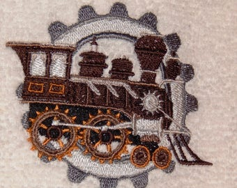 Train Engine  - Embroidered Towel (terry cloth or flour sack)