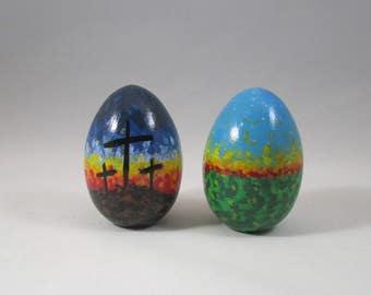Easter decoration, painted egg, easter egg, resurrection egg, wooden decoration, inspirational decoration, easter wood egg