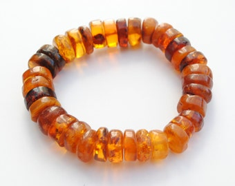 Amber bracelet - vintage bracelet - extensible bracelet - amber jewelry