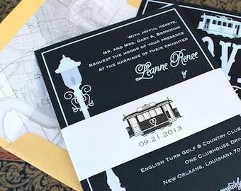 Modern Streetcar Wedding Invitation (White Ink) - New Orleans - Design Fee