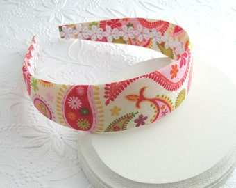 Fabric Covered Headband, Girls Headband, Adult Headband, Fabric Headband, Bright Color Headband, Paisley Headband, Preppy Headband