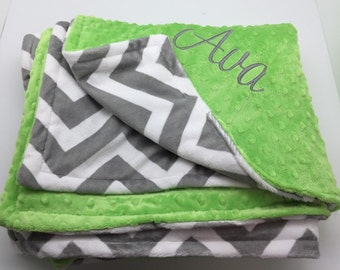 SALE Personalized blanket, monogram adult blanket, Christmas gift for girls teens, personalized gift, custom blanket, chevron minky dot
