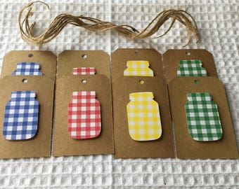 Country Gingham Mason Jar Tags Labels Lot of 8 Jute Twine Gift Tag Canning Farm Favor Tag