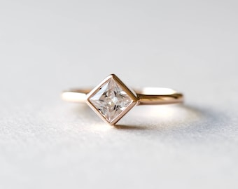 14k Rose Gold Square Cut Ring, Rose and Choc Ring, Statement Ring, Rose Gold Ring, Simple Ring, Gift for Her, 925 Sterling Silver Ring