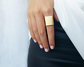 Wide band ring - Gold ring,  Adjustable ring, Simple big gold ring, Statement ring, Gold accessories, Square gold ring, Gold jewelry
