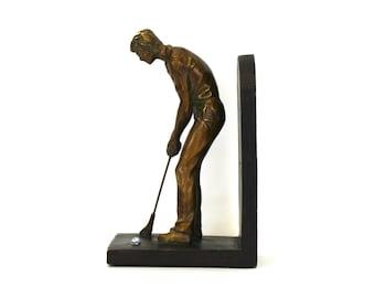 Vintage Golfer Putting Metal & Wood Bookend (E4660)