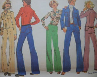 vintage 1970s simplicity sewing pattern 7146 Mens unlined jacket and pants size 40 uncut