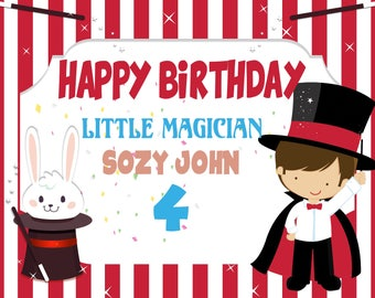 Large Custom Little Magician Birthday Banner, Magic Birthday Party, magic show, magic party decor, magic party backdrop, magic hat ;1400057