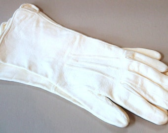 1920's Kid Leather Gloves - White Kid Gloves - Made in England - Size 6 & 1/2
