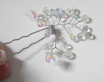 Bridal Hair Pin, Crystal Teardrop Hair Pin, Hair Vine, Crystal Hair Accessory,  Veil hair pin, Crystal decorated Hair Pin, Fancy Hair Pin
