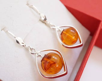 Amber Earrings, Amber Drop Earrings, Amber Jewellery, Amber Jewelry, Cognac Amber, Baltic Amber Earrings With Certificate Of Authenticity
