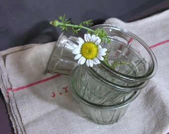 Antique Jam Glassware Jar - Rustic French Jam Pot - Collectible Jam Pot - French Mid Century Shabby Kitchen - Vintage French Home