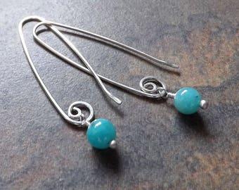 Sterling Silver Long Dangle Earrings, Aqua Amazonite Drop Earring