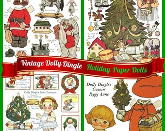Vintage Dolly Dingle and Friends Holiday Paper Dolls, Digital PDF File, Instant Download, Ready to Print 4 Pages