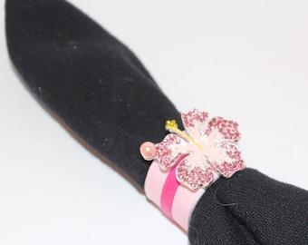 Hibiscus Bling Napkin Rings Set of 6