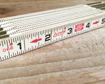 "Vintage 6ft Lufkin Folding Ruler 066 Red End 72"" Made in USA"