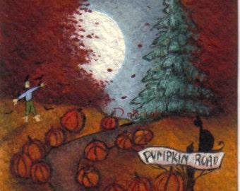 Pumpkin Road  a tiny moon Fall Pumpkin Print by Deborah Gregg
