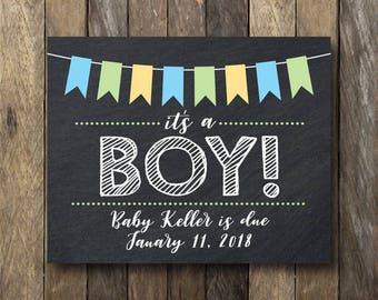 Printable It's a Boy Sign - Gender Reveal Pregnancy Announcement