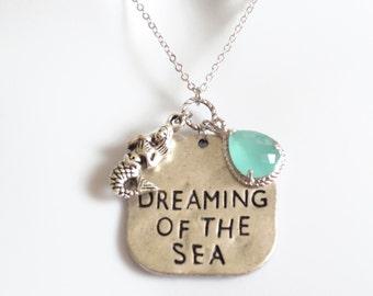 Dreaming of the sea, Mermaid, Ariel, Mint, Stone, Silver, Necklace, Dream, Sea, Ariel, Mermaid, Jewelry, Modern, Dainty, Gift, Jewelry