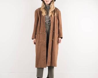 AMAZING Vintage Tan Leather Coat / S / hipster jacket coat womens outerwear overcoat oversized coat beige light brown