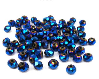 30 glass beads faceted 6 mm blue metallic