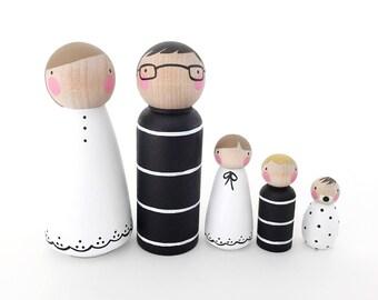 Peg doll family // The Black & White Family // doll house family // peg dolls