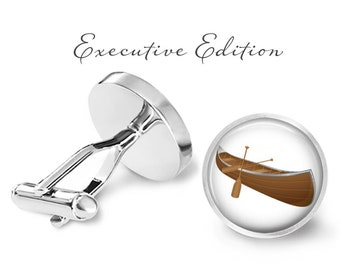 Canoe Cufflinks - Wooden Canoe Cuff Links - Boat Cufflink - Nautical Cuff Links (Pair) Lifetime Guarantee (S0670)