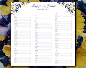 """Wedding Seating Chart Template   Navy Blue Yellow  """"Maggie"""" Microsoft Word Template   You Print 22x22 Beach Wedding Download"""