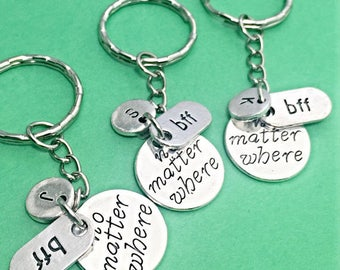 Custom best friend keychains - set of 3, no matter where bff, personalized, custom, initial keychain, friendship keychain, gift for friend