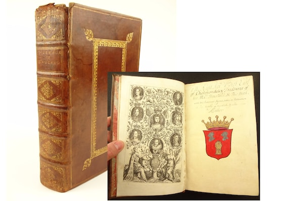 1710 author signed presentation copy, The Peerage of England by Arthur Collins.Presented to Earl Hugh Cholmondeley (Irish) with arms painted