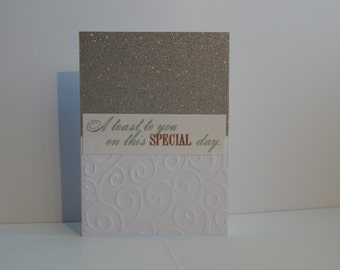 Wedding Card, Silver and White