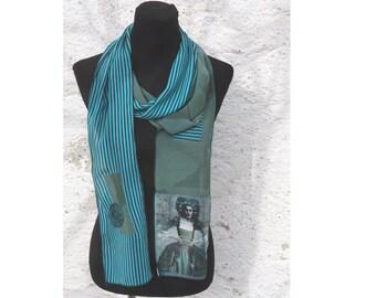 Summer scarf, viscose, appliqué, photo fabric, 240 cm long, chiffon, scarf, collage, wearable art, 300 cm long