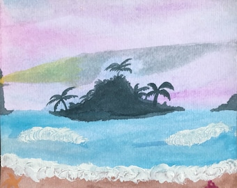 Island Watercolor Painting