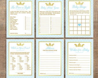 Prince Baby Shower Games Package, Six Baby Shower Games Bundle, Light Blue and Gold Crown, Baby Boy, DIY Printable, INSTANT DOWNLOAD