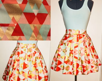 Gold, Teal, Rustic Orange Skirt