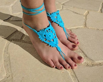 White-foot sandals with turquoise color Boho barefoot Sandals