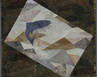 Go with the Flow, 13.5x14.5 inches, Hand Beaded Art Quilt by Susan Damone Balch, Jumping Fish
