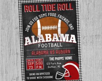 Alabama Football Invitation | Alabama Football Birthday | Tailgate Party Invitation | Digital Invitation