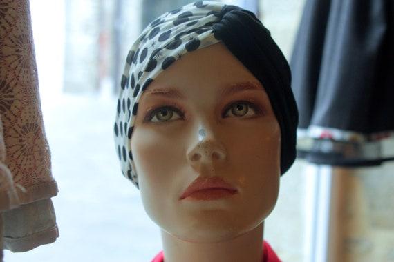 Headband-Turban hair Retro Ecru dots black viscose and Black Jersey. Retro polka dot headband