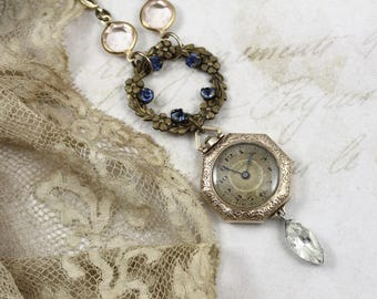 Art Deco Watch Necklace, Vintage Assemblage Deco Watch Necklace, Wreath and Watch Necklace, Old World Gatsby Necklace, Old World Assemblage