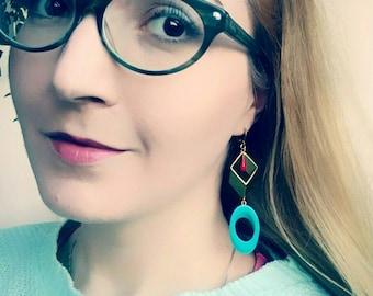 Big Bold Statement Earrings, Modern Geometric Earrings, Blue Gold Drop Earrings