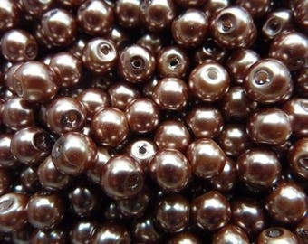 30 bronze glass beads round 6mm hole about 1.5 mm