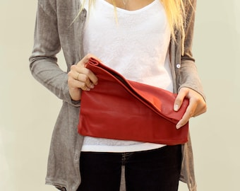 Sale !!! Red clutch bag, Red leather clutch purse, Leather clutch with strap (optional), Evening bag, foldover clutch, BARBARA