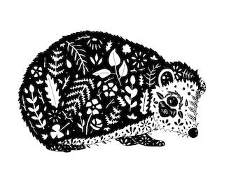 Hedgehog Print // Hedgehog drawing // Woodland Animal Art Illustration // Black and White // Botanical Print // Nursery Wall Art //Gift Idea