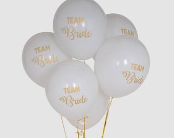 10 balloons 12inches Team bride latex balloons white and gold wedding bridal shower girls fun night design party decor helium air filled